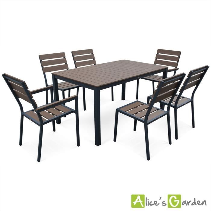salon de jardin monaco en bois composite et aluminium table 150cm 4 chaises et 2 fauteuils. Black Bedroom Furniture Sets. Home Design Ideas