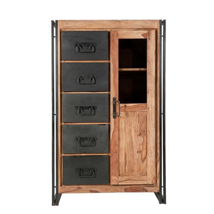 armoire industriel loft atylia mati re shesham achat. Black Bedroom Furniture Sets. Home Design Ideas