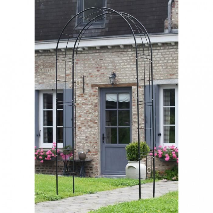 arches treillages tonnelles et pergolas de jardin arche de jardin en metal noir nature 6040802. Black Bedroom Furniture Sets. Home Design Ideas