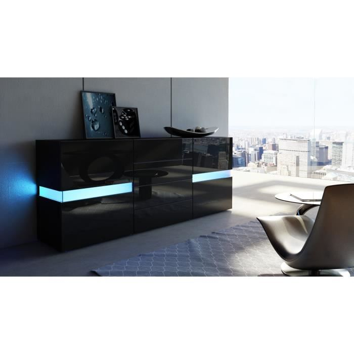 bahut noir avec led int gralement laqu achat vente. Black Bedroom Furniture Sets. Home Design Ideas