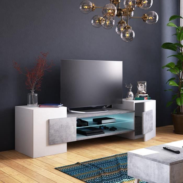 Meuble TV / Meuble de salon - CHARLES - 160 cm - blanc mat / béton - avec  LED - style contemporain - design moderne