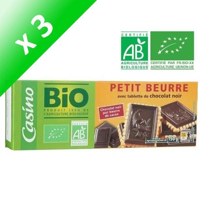 BISCUITS SECS CASINO Petit Beurre au Chocolat Noir Bio (Lot de 3