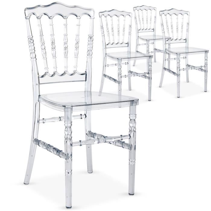 Lot de 4 chaises napoleon plexi transparent achat vente chaise cdiscount - Chaise transparente discount ...