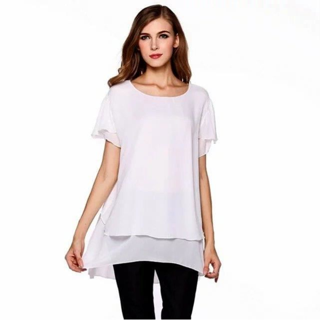 mode grande taille chemisier femme milieu longu blanc achat vente chemisier blouse. Black Bedroom Furniture Sets. Home Design Ideas