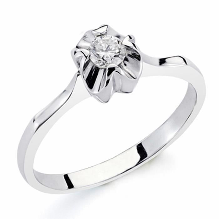 Bague solitaire 18k brillant 0.20ct diamant [AA1789] or blanc - Taille: 52