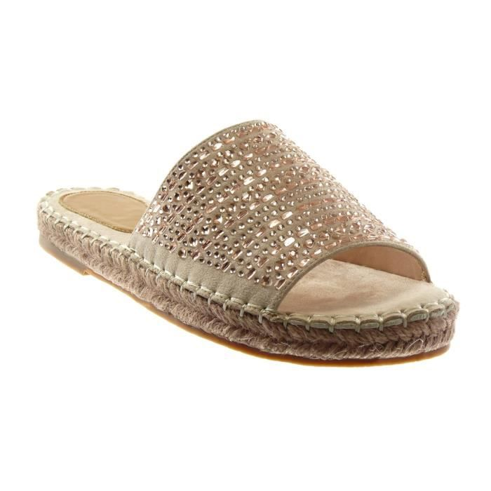 Angkorly - Chaussure Mode Sandale slip-on femme Strass corde finition surpiqûres coutures Talon bloc 2.5 CM - Rose clair - 303-53 T