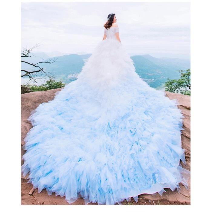Robe de marie bleu et blanche - Achat / Vente