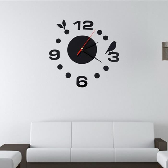 Num rique big miroir horloge murale moderne design salon horloges quartz m tal achat for Horloge murale moderne salon