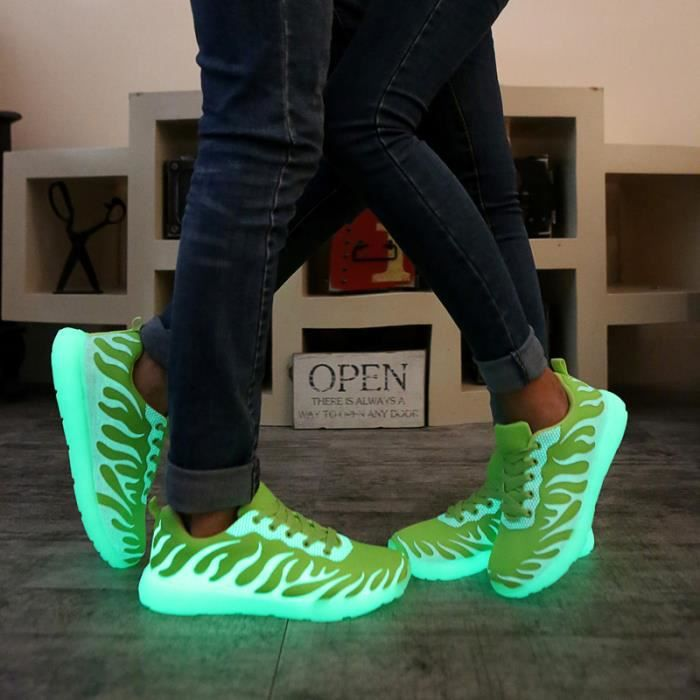 chaussures fluorescents Sport Homme chaussures lumineuses baskets fluorescents