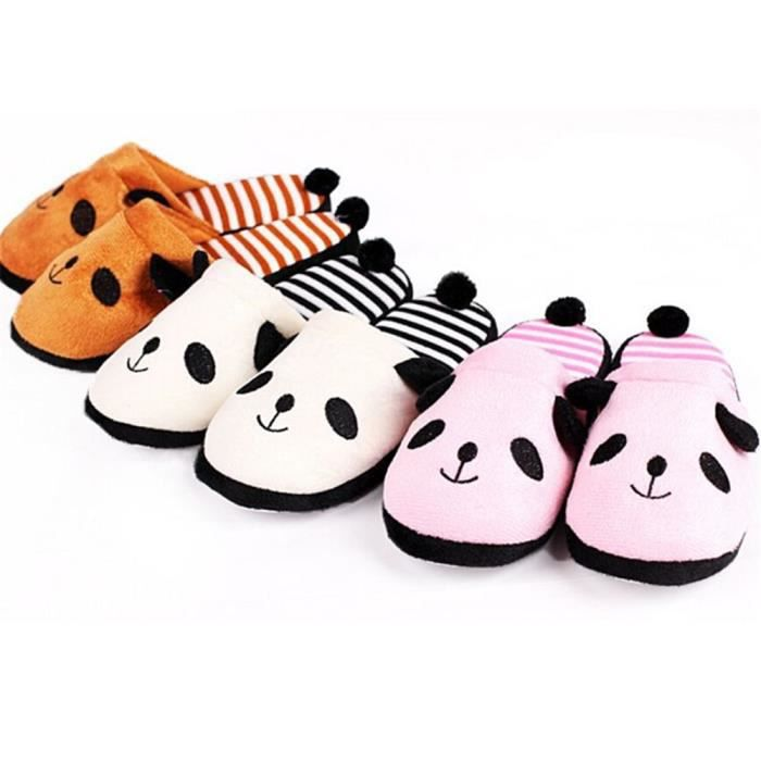 Pantoufles Cartoon Animaux Hiver Chaud Peluche Panda slippers BJYG-XZ037Rose41 ONLyg