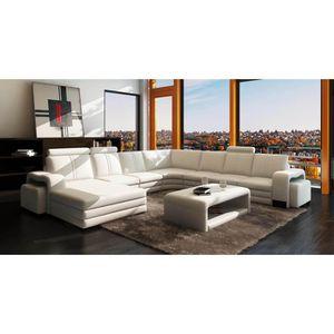 CANAPÉ - SOFA - DIVAN Canapé d'angle panoramique cuir blanc 10 places HA