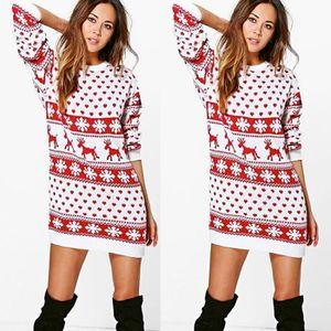 ROBE Femmes Noël Noël Print robe à manches longues Mini