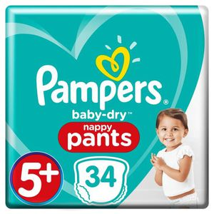COUCHE PAMPERS Baby Dry Pants Taille 5+, 12-17 kg, 34 cou