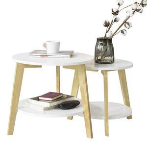 TABLE D'APPOINT SoBuy® FBT75-W Tables Basses Gigognes Table café R