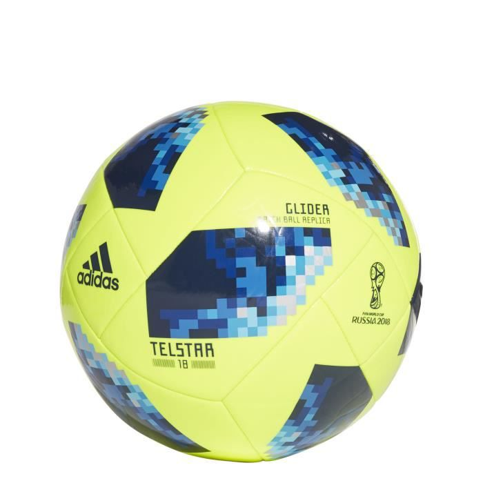Ballon adidas FIFA World Cup Glider 2018 - jaune fluo/bleu/bleu royal intense - Taille 3