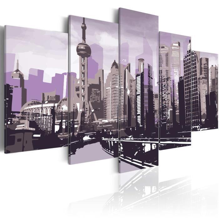 Tableau - Gratte - 200x100 - XXL - Villes - Villes du monde - ciels de Shanghai