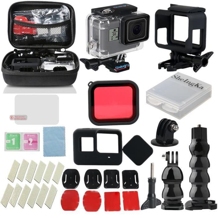 CAMERA SPORT - CAMERA FRONTALE Kit d'accessoires 32 en 1 pour boîtier de protection pour la plongée GoPro Hero7Black - 6-5