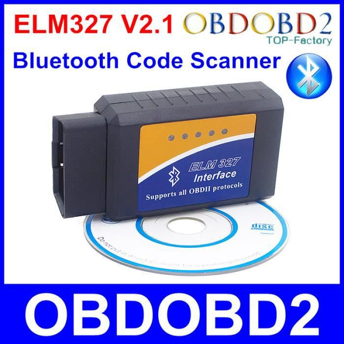 Dernière version ELM327 Bluetooth V2.1 OBD2 OBDII ELM 327 Outil de diagnostic sans fil supporte les 7 types OBD Protocoles An-1227