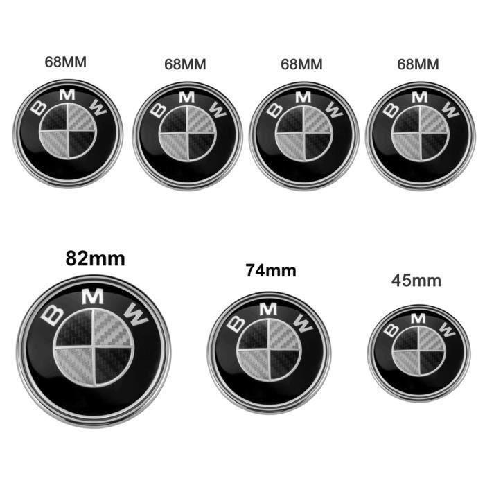 Lot de 7 BMW Carbone Noir Logo Emblème 82mm Capot+ 74mm Coffre+ 68mm Centre de roue Enjoliveur