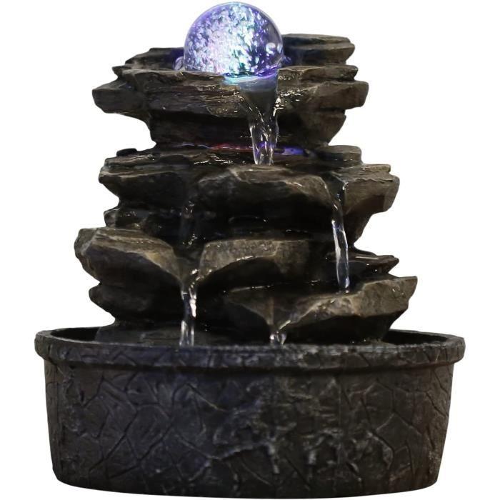 Zen'Light Fontaine Little Rock, Polyrésine, Marron Foncé, 20 x 20 x 23 cm