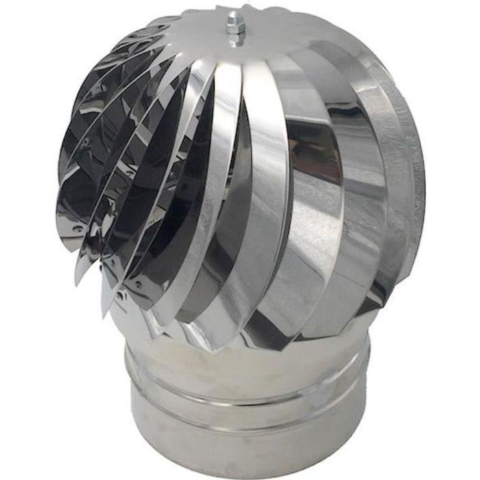 Extracteur de fumées rotatif éolien en inox AISI304 base ronde, chapeau de cheminée (Ø 120 cm)