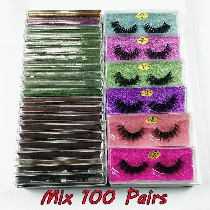 Maquillage,Lot de faux cils en vison naturel 3d,30-50-100 paires,pour maquillage,vente en gros - Type Mix 100 pairs