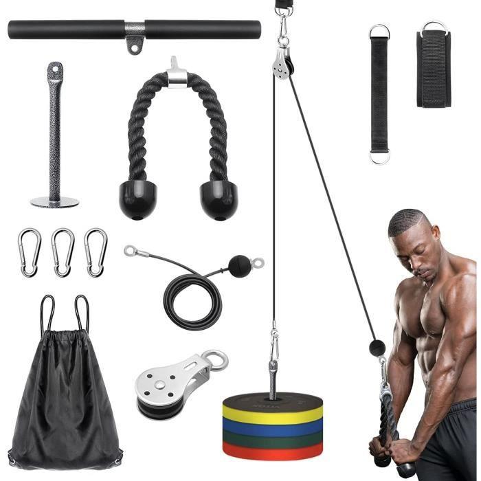 Poulie Musculation à Domicile, Kit Musculation Poulie Tirage de Bricolage avec Corde pour Triceps et Barre de Traction, Machine pour