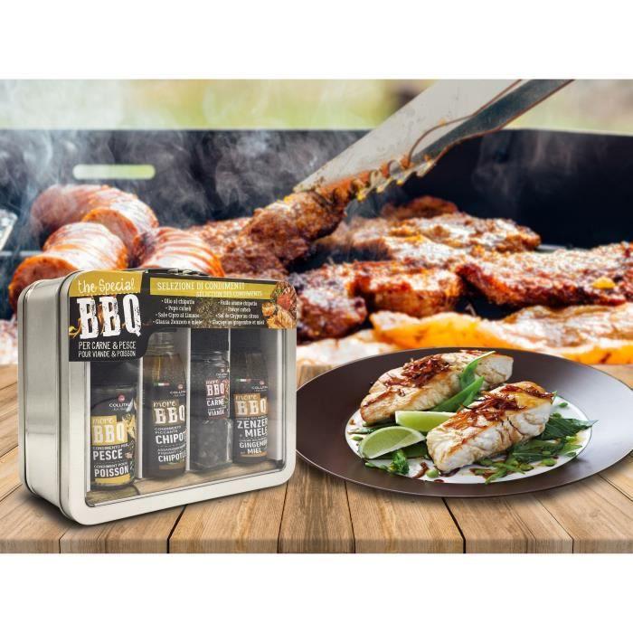 COLLITALI VALISETTE BBQ : huile olive piment 100 ml / poivre Cubeb 27 g + sel citron 40 g + sauce vinaigre miel 100 ml
