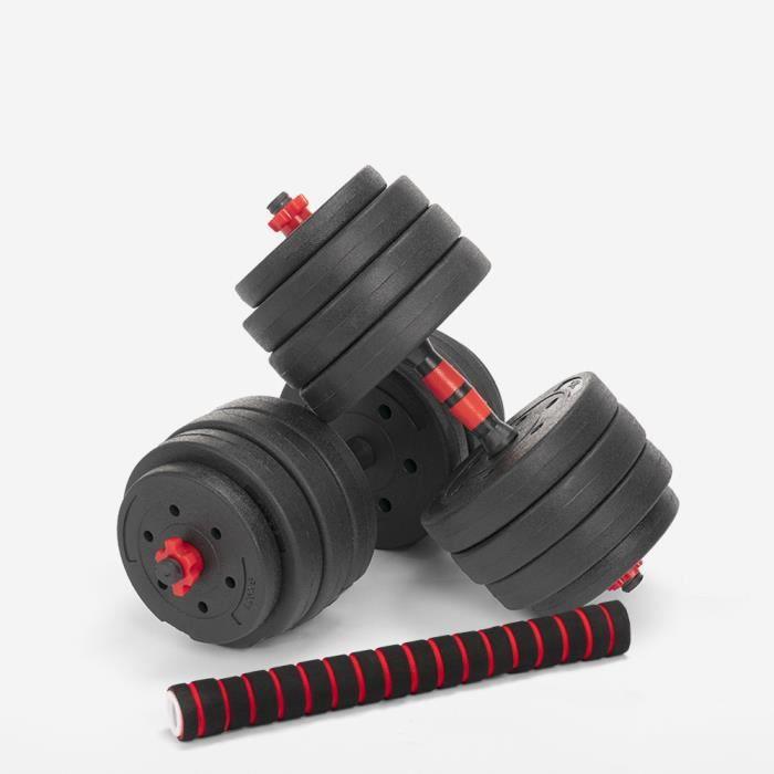 Haltères et barre de musculation Set 2 en 1 Fitness Gym 40kg Ermes