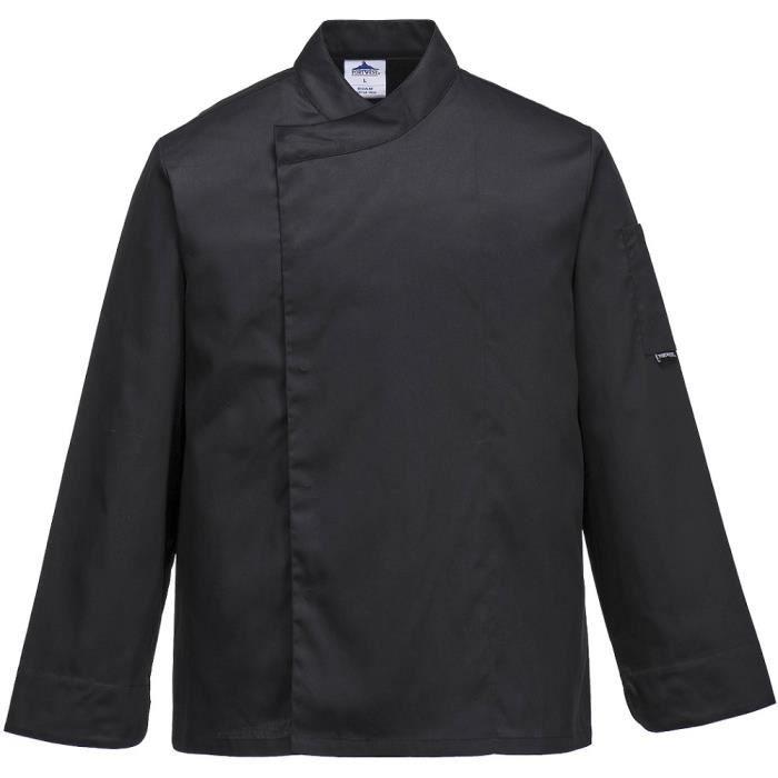 Veste de cuisine noire respirante