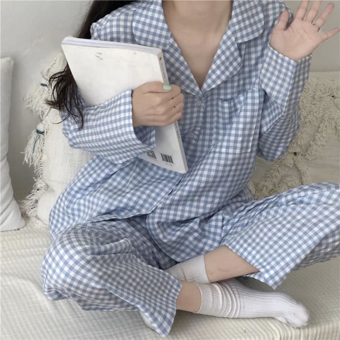 Pyjama flanelle femme - à carreaux Cardigan - FR67YDU
