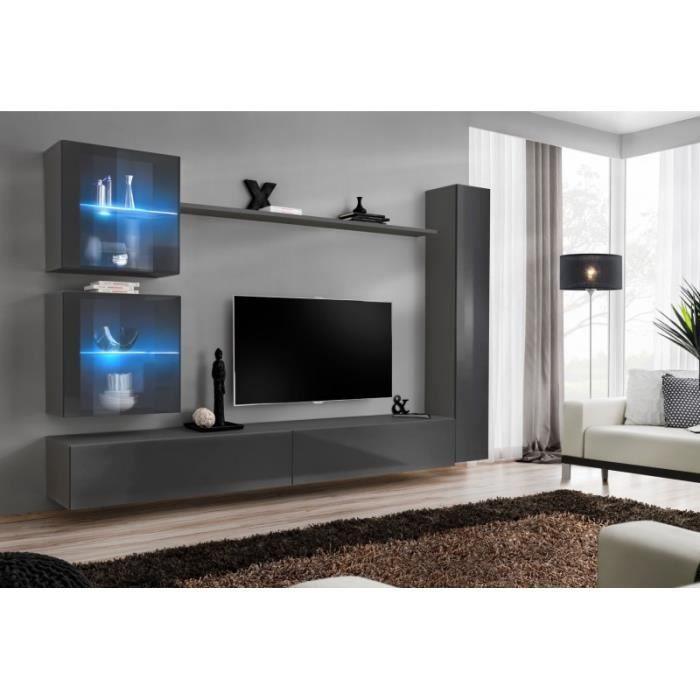 Meuble Tv Mural Design -switch Xviii- 280cm Gris - Paris Prix