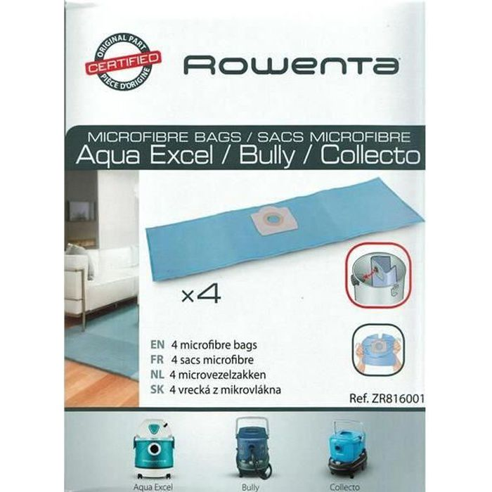 ROWENTA Lot de 4 Sacs aspirateur Collecto/Wet&Dry - 19 L