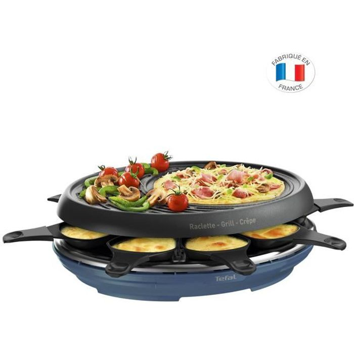 TEFAL RE310401 Appareil à raclette - Grill - crêpes 8 Personnes avec coupelles - bleu acier