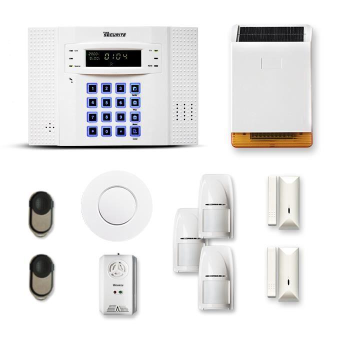 Alarme maison sans fil DNB 2 à 3 pièces mouvement + intrusion + détecteur de fumée + gaz + sirène extérieure solaire - Compatible Bo