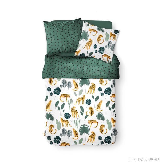 Parure de lit 2 personnes 240X260 Coton imprime blanc jungle SUNSHINE