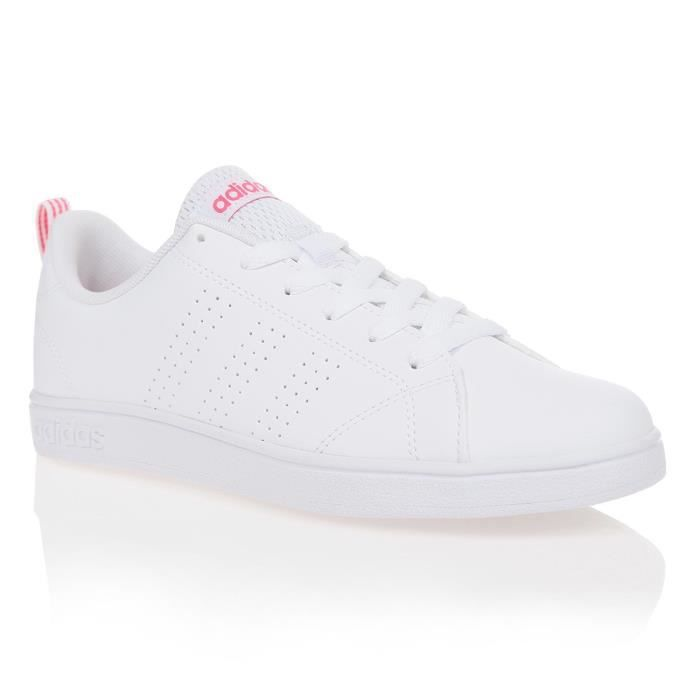 ADIDAS Baskets Vs Advantage Clean - Enfant Fille - Blanc et rose