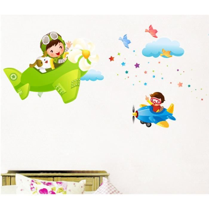 stickers muraux enfant avion achat vente stickers. Black Bedroom Furniture Sets. Home Design Ideas