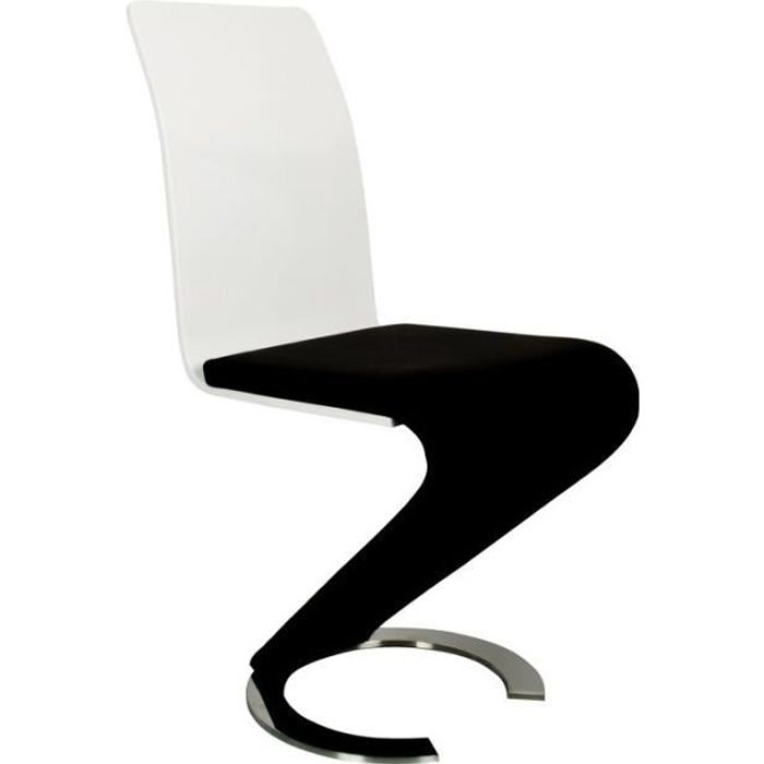 chaise design noir et blanc lot de 2 achat vente chaise cdiscount. Black Bedroom Furniture Sets. Home Design Ideas