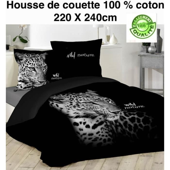 housse de couette noir imprime tigre 220x240cm 2 taies d. Black Bedroom Furniture Sets. Home Design Ideas