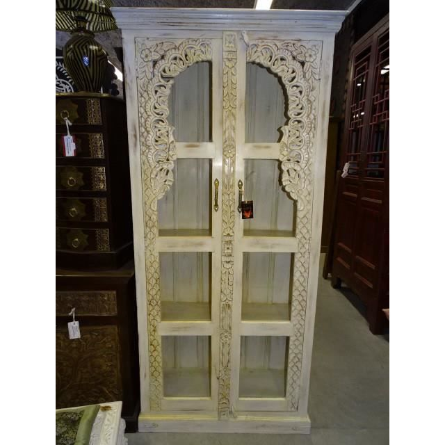 armoire biblioth que vitr e blanche achat vente. Black Bedroom Furniture Sets. Home Design Ideas