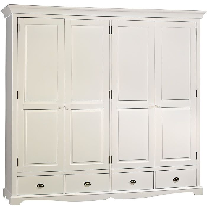 grande armoire penderie blanche de style anglais achat. Black Bedroom Furniture Sets. Home Design Ideas