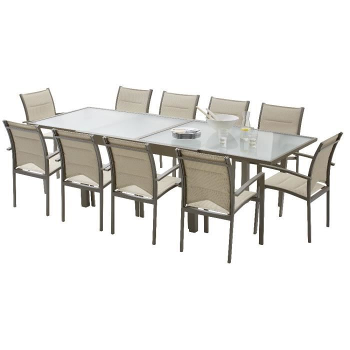 Salon de jardin modulo 1 table 10 fauteuils taupe for Table jardin 8 personnes