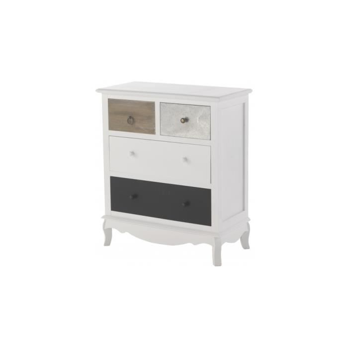 commode sapin laqu blanc 4 tiroirs assortis achat. Black Bedroom Furniture Sets. Home Design Ideas