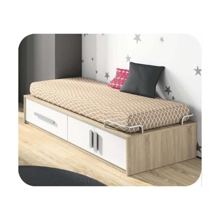 pack lit superpos kids 90x190 cm avec 2 matelas marron achat vente structure de lit pack. Black Bedroom Furniture Sets. Home Design Ideas