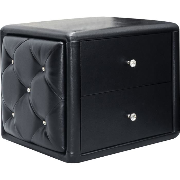 table de nuit noire capitonn e de strass achat vente chevet table de nuit noire capiton. Black Bedroom Furniture Sets. Home Design Ideas