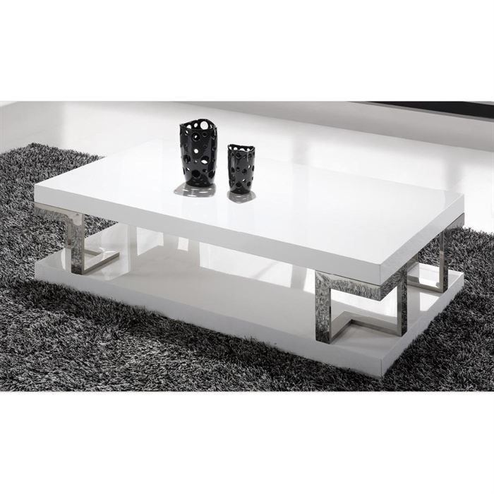 Table basse laqu e blanche haute brillance doris achat vente table basse - Table salon cdiscount ...