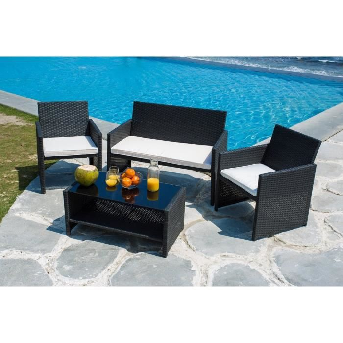 finlandek salon de jardin 4 places en r sine tress e hilpea achat vente salon de jardin. Black Bedroom Furniture Sets. Home Design Ideas