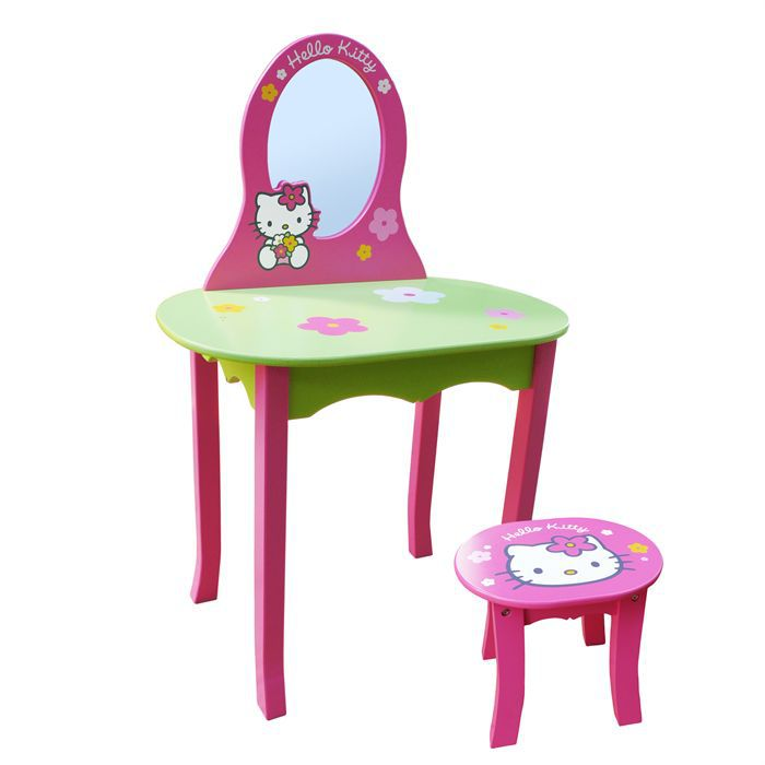coiffeuse avec tabouret hello kitty achat vente table b b coiffeuse tabouret hello kitty. Black Bedroom Furniture Sets. Home Design Ideas