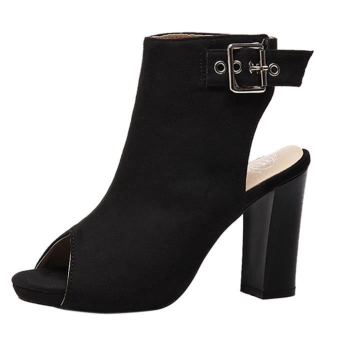Sandale Noir de Femme Chaussure Talon Fille A Ville Achat MpqSLUVGz